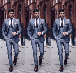 $enCountryForm.capitalKeyWord NZ - Mens Suits Grey Slim Fit Tuxedo For Groom Two Buttons Mens Suits For Wedding Mens Formal Prom Clothing Cheap Three Piece (Jacket+Pants+Vest)