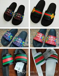 Топ-качество бренд сандалии мужчины тапочки дизайнер тапочки летние сандалии пляж слайд мода потертости тапочки Повседневная обувь 40-45  на Распродаже