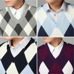 0d9d761182530 2018 Fashion Design V Neck Male Waistcoat Knitted Vest Men Sleeveless  Sweater Argyle Pattern Pink Purple Grey Navy