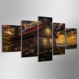 Spray Painting House UK - Good Nigjt House,5 Pieces HD Canvas Printing New Home Decoration Art Painting  Unframed Framed