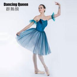 d719ed149 19336 Elegant Blue ballet tutu for girls women Velvet Bodice Long Romantic  ballet dress for ballerina Soft Tulle dress