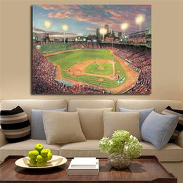 $enCountryForm.capitalKeyWord Australia - Fenway Park Thomas Kinkade Wall Art Canvas Poster and Print Canvas Painting Decorative Picture For Office Living Room Home Decor Framework