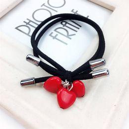 $enCountryForm.capitalKeyWord Australia - Three Red Heart Knot Bow Elastic Hair Bands Toys For Girls Handmade Two Rope Headband Scrunchy Hair Accessories For Women