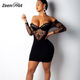 $enCountryForm.capitalKeyWord NZ - Off Shoulder Lace Patchwork Bandage Dress Women Party Bodycon Mini Dresses Sexy Mesh Club Wear Black Short Dress