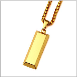 Coin Pendants For Men Australia - Fashion Mens Hip Hop Jewelry Necklace Gold Bullion Pendant Necklaces Long 72CM Stainless Steel Chain Punk Rock Micro Men For Men