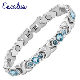 Food channel online shopping - Escalus Blue Crystals Magnetic Bracelet For Women Silver Color Stainless Steel Link Chain New Bracelets Jewelry Gift Y19051002