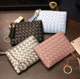 min cards NZ - DHL50pcs Coin Purse Women PU Square Shaped Weave Short Min Wallet With Tassel Mix Color