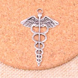 $enCountryForm.capitalKeyWord UK - 41pcs Charms caduceus medicine symbol Antique Silver Plated Pendants Fit Jewelry Making Findings Accessories 49*30mm