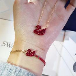 Spring Women Velvet NZ - Red Swan Bracelet Girl Red Velvet Swan Bracelet Charm Bracelet Women Elegant Ladies Silver Jewelry