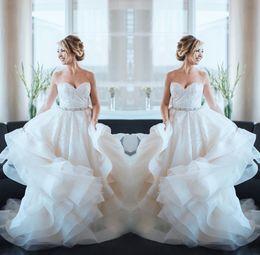Discount graceful modern wedding dresses - Graceful Sweetheart Neck A Line Wedding Dresses Floral Lace Applique Bridal Gown Sequins Sash Bottom Ruffles