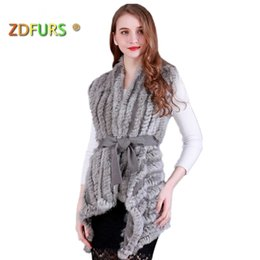 $enCountryForm.capitalKeyWord Australia - Zdfurs * Women Genuine Knitted Rabbit Fur Vests With Belt Sweater Waistcoat Wholesale Drop Shipping Y190828