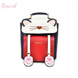 Styles Backpacks Australia - Remiel Women Backpacks School Backpacks Style Preppy Backpack Black Cat Fun Quality Pu Leather Women's Shoulder Bag Travel Bags