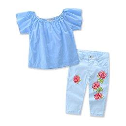 13980ce8b 2019 New Fashion Children Kids Girl Clothing Set Off shoulder Blue T-shirt  Tops+Rose Flower Jean Denim Pant 2PCS Child Clothes