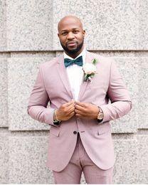 Men White Linen Casual Suits Australia - Summer Beach Pink Linen Men Suits Groom Wedding Tuxedos Best Man Blazer 2Piece Coat Pants Jacket Trousers Costume Homme Casual Prom Party