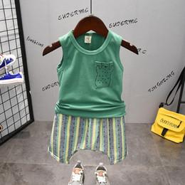 $enCountryForm.capitalKeyWord NZ - Baby Green Cotton Vest Sleeveless T-shirt Tops + Loose Striped Baggy Pants 2pcs Sportwear Outfit Kid Boys Undershirt Clothes Set