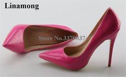 2019 Vestido de despeje de fábrica Zapatos Estilo de la marca Mujeres Punta estrecha 11 cm Tacón de aguja Zapatos de charol Bombas Rosa Rojo Oro Zapato de vestir barato en venta