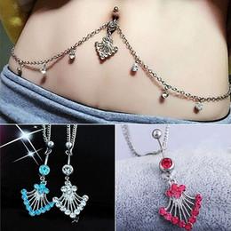 Waist Piercing Australia - Fashion Crystal Rhinestone Waist Chain Stainless Steel Piercing Belly Barbell Navel Ring with Waist Chain Body Jewelry