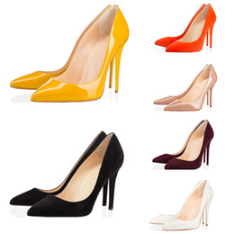 China With box luxury Brand designer women shoes red bottom high heels 8cm 10cm 12cm Nude black red Leather Pointed Toes Pumps Dress shoes supplier office boxes suppliers