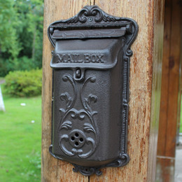 $enCountryForm.capitalKeyWord NZ - Small Wall Mounted Cast Iron Mailbox Metal Mail Box Wrought Iron Letter Post Box Rustic Brown Postbox Home Cottage Gardon Decoration Vintage