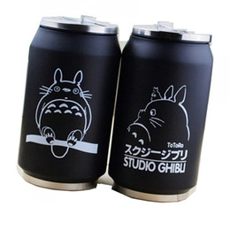 japanese mini figures Canada - 2019 cartoon vacuum thermos mug my neighbor totoro can of cola stainless steel anime figures cup with Japanese hayao miyazaki design