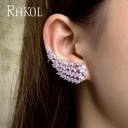 Earrings Ear angEls online shopping - RAKOL Clear White Cubic Zirconia Micro Pave Setting Angel Wings Ear Cuff Earrings For Women Fashion Jewelry