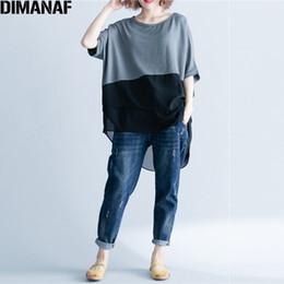 Basic Casual Loose Tees Australia - Dimanaf Women T-shirt Summer Plus Size Chiffon Patchwork Elegant Oversized Irregular Basic Tops Female Casual Loose Tees Shirt Y19042501