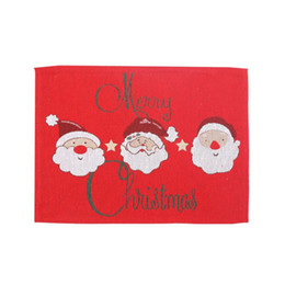 modern table placemats Australia - Christmas Holiday Table Pad Napkin Dish Bowl Placemats Polyester Cotton Mats Embroidered Table Xmas Party Decoratio