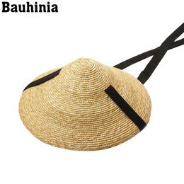 Discount long beach hats Bauhinia 2020 New summerStraw Bamboo Cone hats natural wheat straw hats high long ribbon lace-up wide brim beach