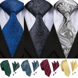 $enCountryForm.capitalKeyWord Australia - Hi-Tie Luxury Silk Paisley Ties Set Blue Black Grey Neck Wear Tie Handkerchief Cufflinks Set Fashion Male Gravatas for Men Ties