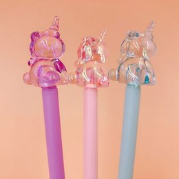 $enCountryForm.capitalKeyWord Australia - 1pcs Novelty Crystal Gel Pens Cute Unicorn Pens Kawaii Neutral For Kids Gifts School Office Supplies Korean Stationery