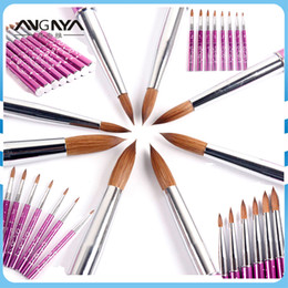 kolinsky sable brushes acrylic UK - ANGNYA New 1pcs #2#4#6#8#10#12#14#16#18#20#22 Kolinsky Sable Brush Acrylic Nail Art Brush Purple Metal Crystal Acrylic Salon