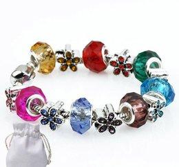 $enCountryForm.capitalKeyWord Australia - 2019Candy Color Crystal Beads Bracelets Women Silver Plated Fit Pandora Bracelets Bangles Flower Shaped Jewelry Hand Chain