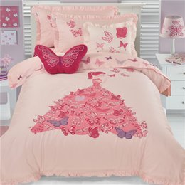 $enCountryForm.capitalKeyWord Australia - 100%cotton cartoon butterfly embroidery ruffles princess sweet girl pink bedding set 3 4pcs twin full queen size free shipping