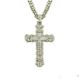 free crucifix pendant Australia - Retro Silver Cross Charm Pendant Full Ice Out CZ Simulated Diamonds Catholic Crucifix Pendant Necklace With Long Cuban Chain DHL Free
