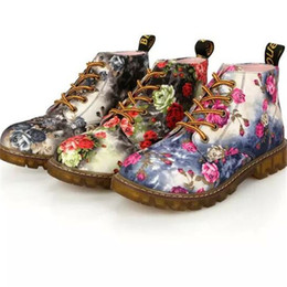 Blue Suede Booties Women Australia - Autumn Women Ankle Boots Low Heels Flower Flats Casual Shoes Woman Oxfords Lace-Up Motorcycle Booties Plus Size 35-40 X74
