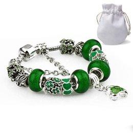 $enCountryForm.capitalKeyWord Australia - Charm Bracelets Women Silver Plated Fit Pandora Bangles Emerald Beads Heart Shaped Green Crystal Pendant Hollow Jewelry
