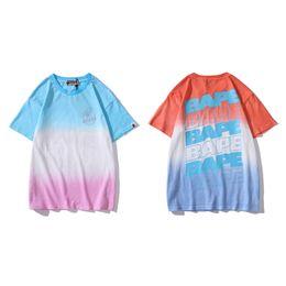 $enCountryForm.capitalKeyWord Australia - 2019 Designer T Shirt Mens Women High Quality Short Sleeves Luxury Mens Gradient Color shark Tees Size M-2XL