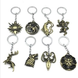 $enCountryForm.capitalKeyWord Australia - HOT Game of Thrones Keychain Set House Stark Wolf Head Series Key Rings High Quality Targaryen Dragon Alloy Pendant Men Jewelry