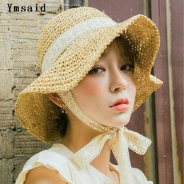 girls straw hat lace NZ - Summer Boater Hats For Women Straw Sun Hat Lady Girls Lace Ribbon Bow Panma Beach Hat Floppy Female Travel Folding Chapeu