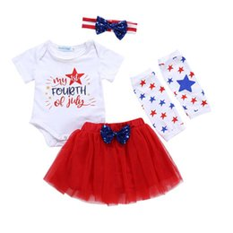 Wholesale o net for sale – custom Baby Girl Skirt Set American Flag Independence National Day USA th July Star Letter Stripe Print Hare Net Skirt Four Piece Set
