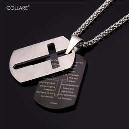 men dog chains cross NZ - Collare Bible Lords Prayer Cross Stainless Steel Necklaces & Pendants Gold Color Wholesale Christian Jewelry Dog Tag Men P509