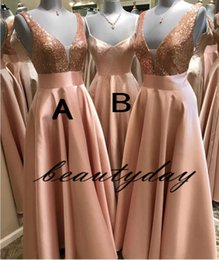 Chinese  Rose Gold Sequins Bridesmaid Dresses For Africa Unique Design 2019 New Full Length Wedding Guest Gowns Junior Maid Of Honor Dress Cheap manufacturers
