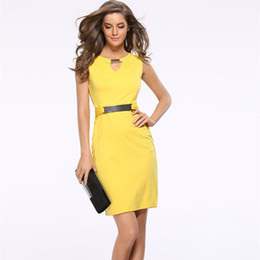$enCountryForm.capitalKeyWord Australia - Summer Women Dress New Fashion Hollow Out Sleeveless Pencil Dress Knee Length Women Casual Dresses Yellow Red Blue Black designer clothes