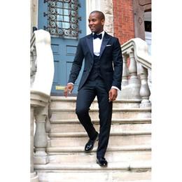 $enCountryForm.capitalKeyWord Australia - Hot Sale Navy Blue Groom mens suits Tuxedos Sexy Shawl Lapel Custom Made Wedding Prom Suit for Men 2019 ( Jacket+Pants+Vest+Tie)