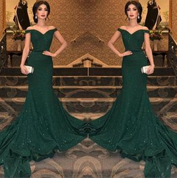 Discount custom light brown - 2019 Elegant Arabic Dark Green Sequined Mermaid Evening Dresses Off The Shoulder Ruched Floor Length Evening Prom Gowns