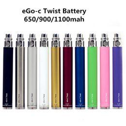 Vente en gros Kit de cigarettes eGo-c Twist Battery E Batterie à tension variable 3.2-4.8V 650mAh 900mAh 1100mAh Kits eGo pour la cigarette électronique de réservoir CE4 MT3
