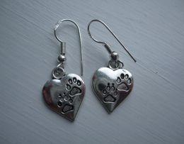 TibeTan charms caTs online shopping - Fashion Pair Cat Dog Print Earrings Sterling Silver Hook Earrings Tibetan Silver Dangle For Women Jewelry Party Drop Friendship Gift