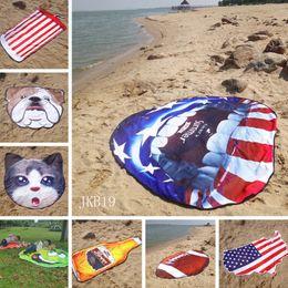 Flag towels online shopping - American flag beach mat Fashion irregular shape beach towel fruit shape round blankets outdoor Soft Carpets kids play mat TTA872