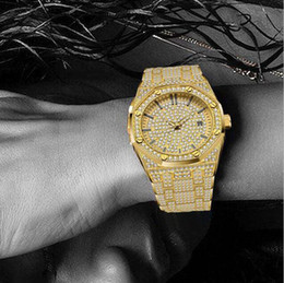 mens diamond watches 2019 - 2019 man watch Mens Watches top brand luxury Fashion Diamond japan Quartz movement Gold Stainless Steel 30m waterproof d