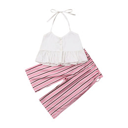 ruffle tutus UK - Summer Baby Girls Outfits Cute Toddler Clothing Sets Fashion Lace Ruffle Halter Tops + Stripe Pants Children Casual 2pcs Sets Y2846